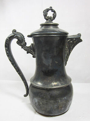 Antique Victorian Ornate Quadruple Silver Lidded Coffee Pot / Jog