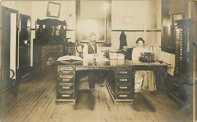 Real Photo Office Interior Woman with Typewrite RPPC Real Photo Postcard ca 1910