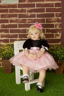 "24"" Golden Hair Reborn Baby Dolls Toddler Girl Child Dolls Realistic Looking"