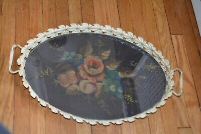 Antique Tin Tray Filigree Leaf Hand Painted Fruits and Flowers Under Glass Rare