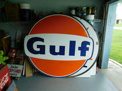 Old Vintage Giant 6'6 Gulf Motor Oil Gas station Porcelain enamel 1960's Sign