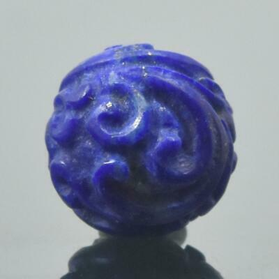 Carved Natural Blue Lapis Lazuli Round 9.68 mm Bead Carving 1.16 g Handmade