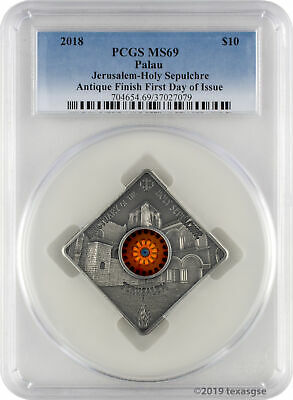 2018 $10 Palau Sacred Art Holy Sepulchre 50g .999 Silver Coin PCGS MS69 FD