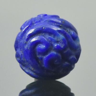 Carved Natural Blue Lapis Lazuli Round 10.20 mm Bead Carving 1.45 g Handmade