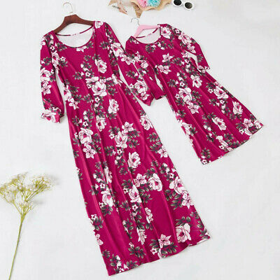 Xmas Mother Daughter Family Matching Clothes Floral Long Sleeve Dress Outfit