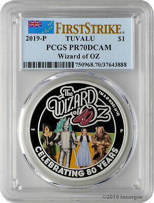 2019-P $1 Tuvalu The Wizard of Oz 1oz 9999 Silver Proof Coin PCGS PR70DCAM FS