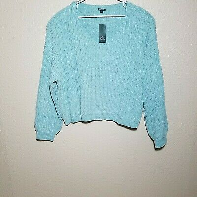 Wild Fable Sweater 3X Soft Cable Knit L/S Loose Fit Pullover Crop Slouchy V Neck