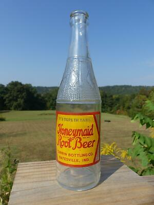 Embossed Deco ACL Soda Bottle Honeymaid Root Beer Batesville Ind 5 Cents