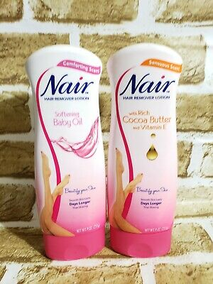 Nair Hair Remover Lotion For Body - Legs, Baby Oil/Cocoa Butter 9 oz (Pack of 2)