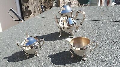 Vintage  Silver Plated 3 Pieces Coffee Tea Set Heavy Quality antique Style
