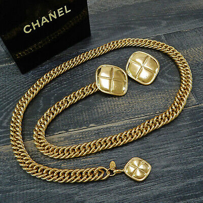 CHANEL Gold Plated CC Clover Charm Vintage Chain Belt #4925a Rise-on