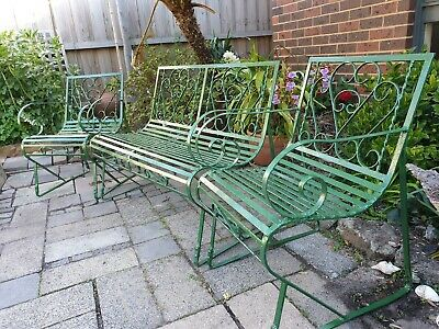 Vintage Wrought Iron  Bench Seat And 2 Chairs