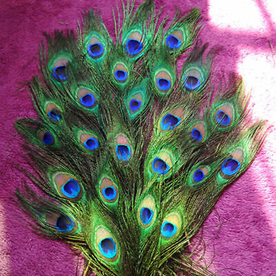 """10Pcs Craft Natural Peacock Feathers Wedding Party Bouquet Decoration 10-12"""""""