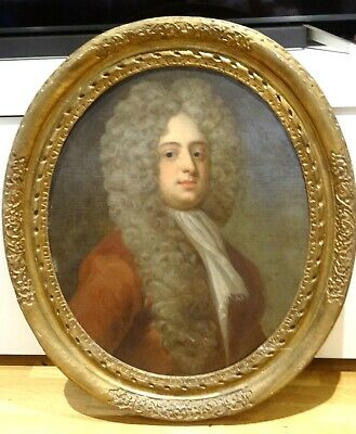 Large 18th Century English Old Master Portrait Gentlemen Wearing Wig Painting