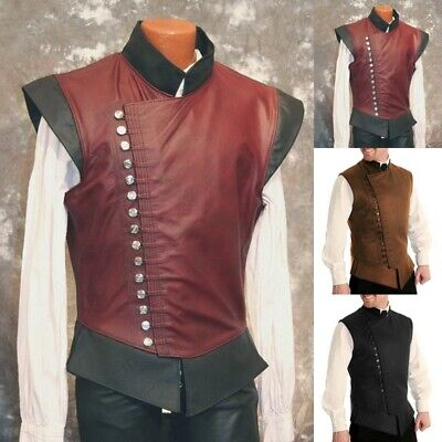 Mens Medieval Halloween Vest Retro Privates Sleeveless Waistcoat Buttons Outfit
