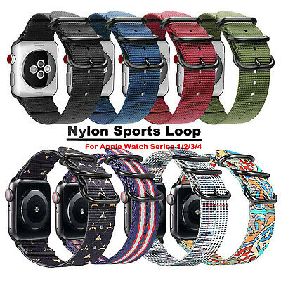 For Apple Watch Series 4/3/2/1 Nylon Sports Wrist Band Strap 38mm 40mm 42mm 44mm