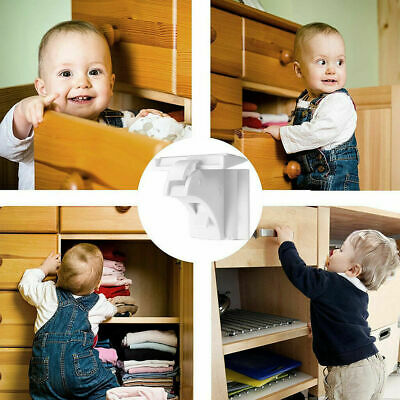 10pc Magnetic Cabinet Locks Baby Safety Invisible Child Drawer Cupboard Pro S4H5