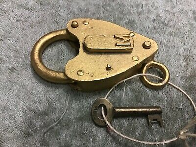 antique brass padlock, South Australian Railway SAR  M  gold padlock