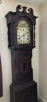 Antique English 19thC Mahogany Grandfather Longcase Clock Case Dickson Skipton