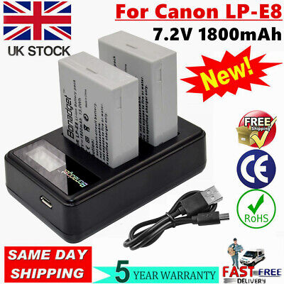 UK 2x Battery+ USB Lcd Dual Charger For Canon LP-E8 EOS 550D 600D 700D T3i X4 WM