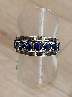 Silver Old Blue Stone Set Eternity Ring Fantastic  (T)