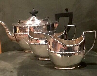 Stylish 3 Piece Solid Sterling Silver Tea Service Set Chester 1930's