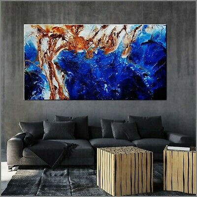Huge Oxide Blue Brown Abstract Art Painting Textured Canvas 190cm x 100cm Franko