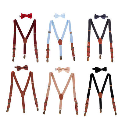 Matching Braces Suspenders and Luxury Bow Tie Set Children Boys Wedding Y Back