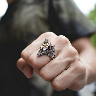 Men's  Anubis God Ancient Egyptian Wolf Ring Excellent Present Meaning#bans