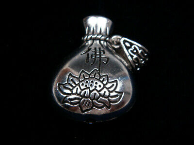 Tibetan Silver Highly Detail Crafted Pendant Money Bag Buddhism Lotus #09161902