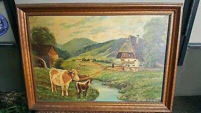 Antique 19th c. Cows Farm Scene Landscape signed  Oil Panel Painting Germany?