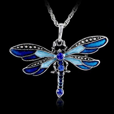 Vintage Silver Crystal Enamel Dragonfly Chain Pendant Necklace Womens Jewellery