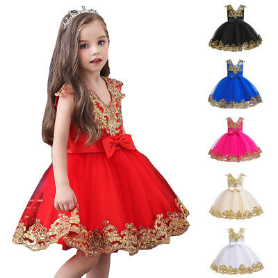 Flower Girl Sequins Party Dress Bridesmaid Christmas Kids Tutu Dress Gown 0-11Y