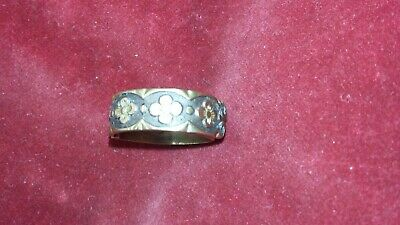 Rare Antique Georgian Or Early Victorian Scarf Ring / Pin Flowers Design