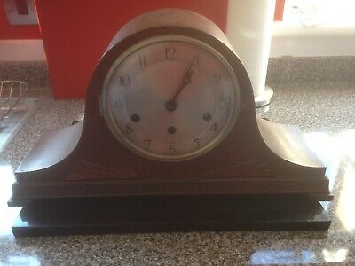 Large Wooden Napoleon Hat Mantle Clock. Spares Or Repair.