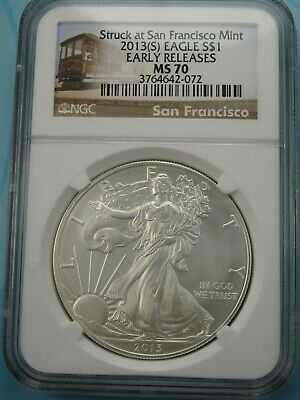2013 (S) American Silver Eagle Ngc Ms70 Early Releases Sf Tram Label
