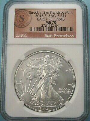 2013 (S) American Silver Eagle Ngc Ms70 Early Releases Special Brown (S) Label