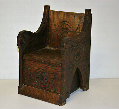 Antique Black Forest Gothic Chair Music Box Carved Wood Jewellery Trinket Box 8""