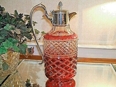 Cranberry Cut to Clear Crystal Glass Claret Wine Decanter Pitcher Jug - Exc Cond