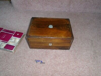 Antique Mahogany Inlaid Mother Of Pearl Sewing Box Desk Top Storage Or Jewellery