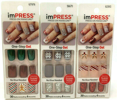 (3) Kiss Impress Nails Press-On Manicure Gel Christmas Holiday Theme Red Green