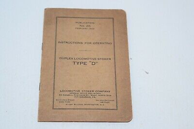 "Vintage 1923 Instructions for Operating Duplex Locomotive Stoker Type ""D"""