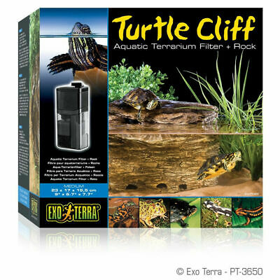 @Exo Terra Turtle Cliff Aquatic Medium Filter System & Basking Rock Terrarium
