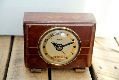 Art Deco HAMMOND TRIPOLI Synchronous Day/Date Alarm clock 1930's