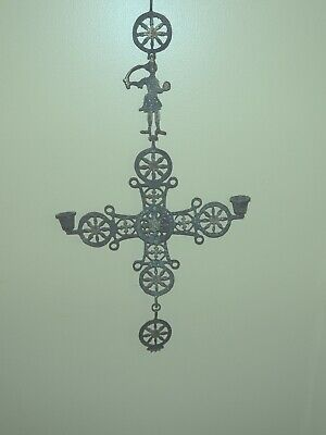 Sweet Large Brass Victorian Figural Hanging Candleabra W/Patina From Father Time