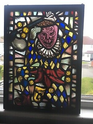 Antique Stained Glass Leaded Panel French? Jester/minstral