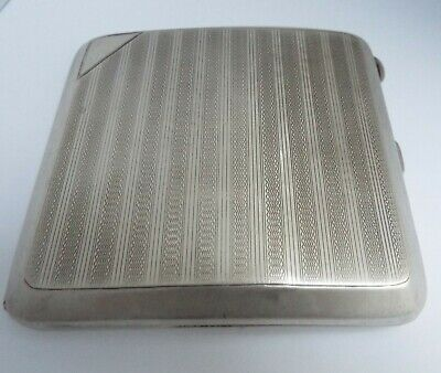 Lovely Clean Heavy English Antique Art Deco 1924 Sterling Silver Cigarette Case