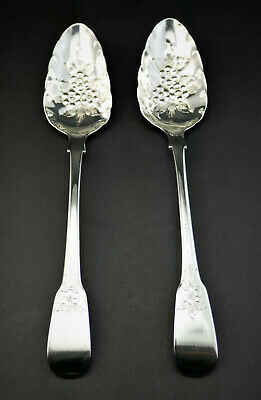 c1805, FINE PAIR ANTIQUE GEORGIAN HM SOLID SILVER BRIGHT CUT BERRY TABLE SPOONS