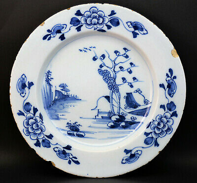 SUPERB c1760, ANTIQUE 18thC ENGLISH LONDON BLUE & WHITE HAND PAINTED DELFT PLATE