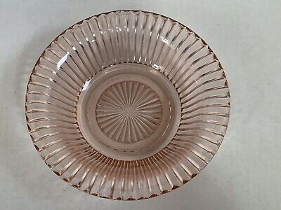 """Vintage Anchor Hocking Queen Mary Pink Depression Glass Ribbed Cereal Bowl 6"""""""